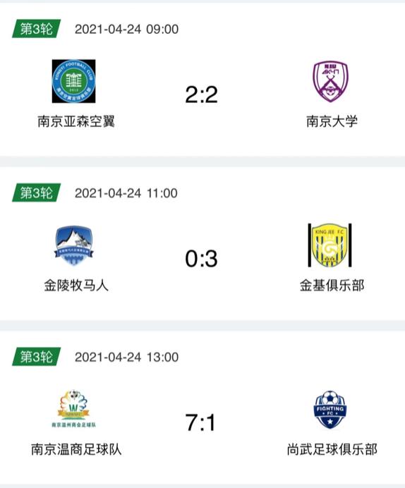 赛况通报|2021年南京市足协超级联赛第三轮